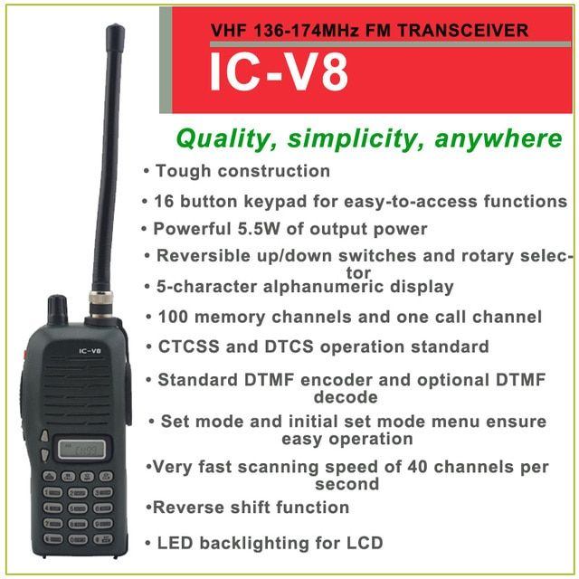 Brand New IC-V8 VHF 136-174MHz 100 Channels FM Transceiver