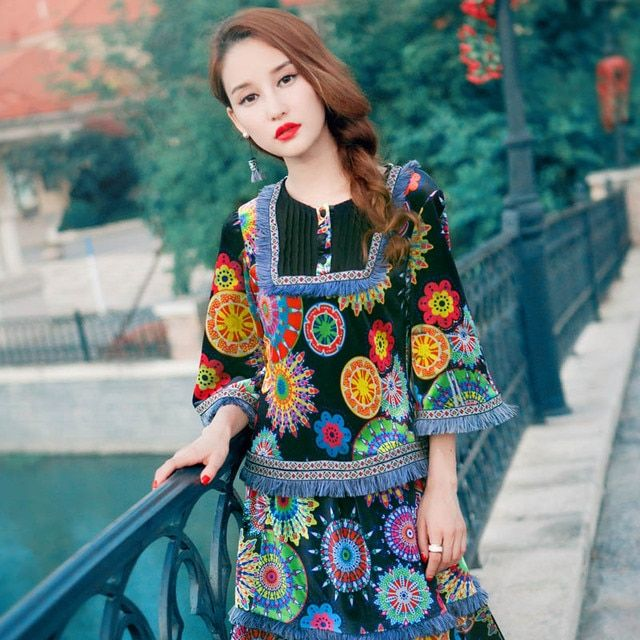 BOHOCHIC Original Retro Ethnic BohemianTurkey Nepal Style 2 Pieces Clothing Velvet Printing Spring Autumn Women Sets AZ0236Q