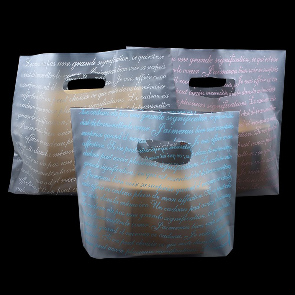 100Pcs/Lot Matte Transparent Plastic Shopping Pack Bag Handles Wedding Gift Clothes Packaging Bag Frosted Clear Handle Bags