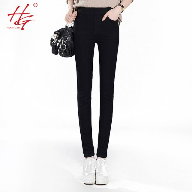 A01 2016 autumn women jeans elastic waist pants female stretchy HG brand high waist jeans femme blue and black jeans woman