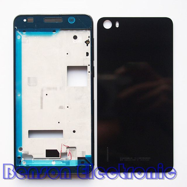 BaanSam New LCD Holder Front Frame Battery Back Cover For Huawei Honor 6 Housing Case With Power Volume Buttons+3M Adhesive