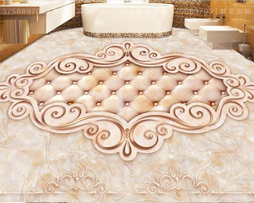 3D floor wallpaper custom photo wallpaper luxurious soft pattern 3d floor tiles pvc floor stick bathroom tiles