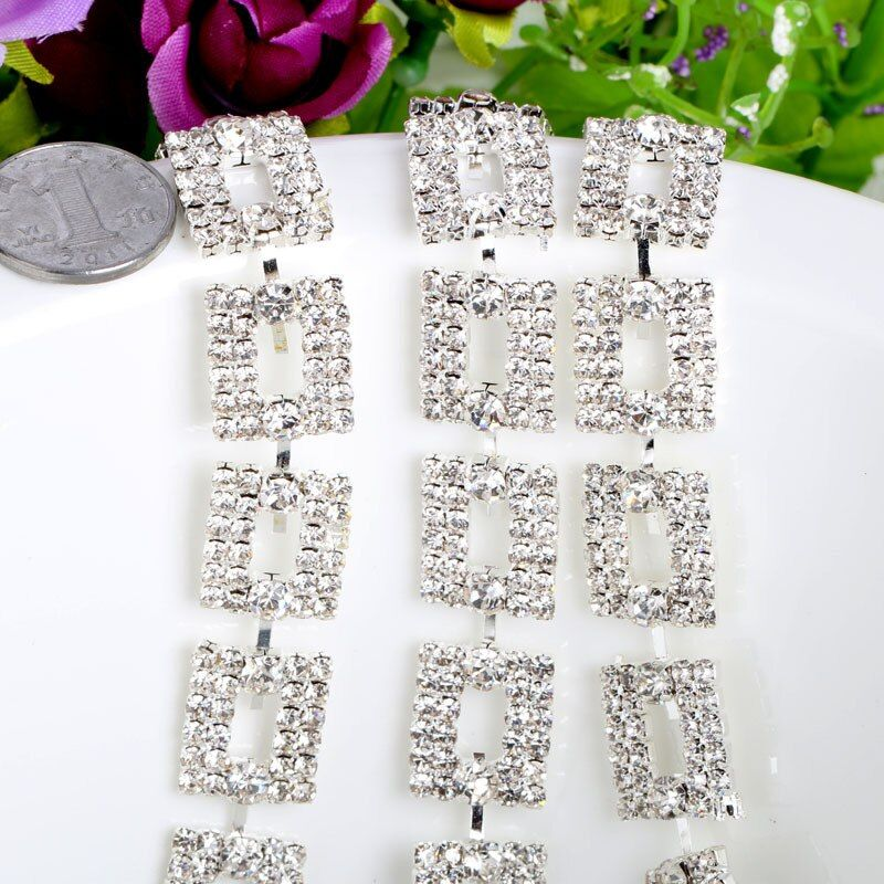 Hotfix Diamond Rhinestone Transfer Motifs Silver Trim Sew On Bridal Costume Square Clear Crystal Trim For Wedding Dress A53