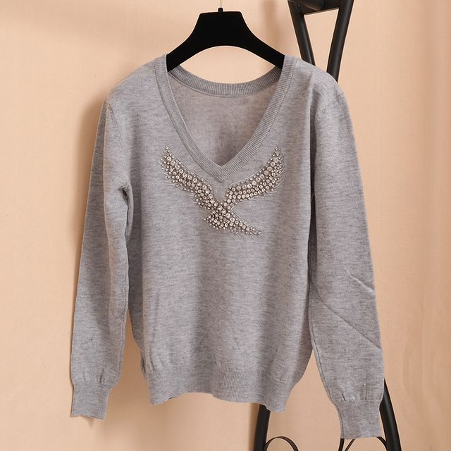 SRUILEE Eagle Beading Sexy Backless Luxury Fashion Autumn Winter New Brand Knit Top Women Sweater Pullover Jumper Runway S42