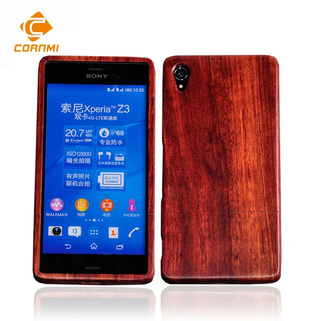 Real Bamboo Wood Phone Case For Sony Xperia Z3 Back Cover Rosewood Walnut wood Wooden Housing Phone Accessories Shell For CORNMI