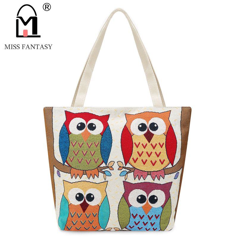 MISS FANTASY Women Bag Women's Canvas Handbag  Embroidery Owl Tote Lady Shopping Bag Shoulder Bags 2017 Summer Holiday Beach Bag