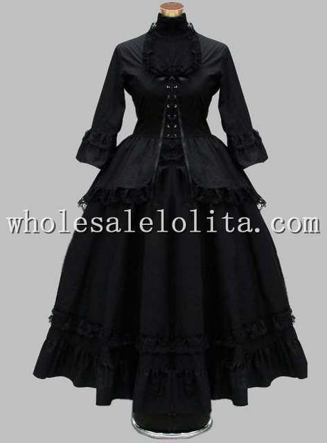 Gothic Black Cotton Lace British Victorian Era Dress Stage Costume