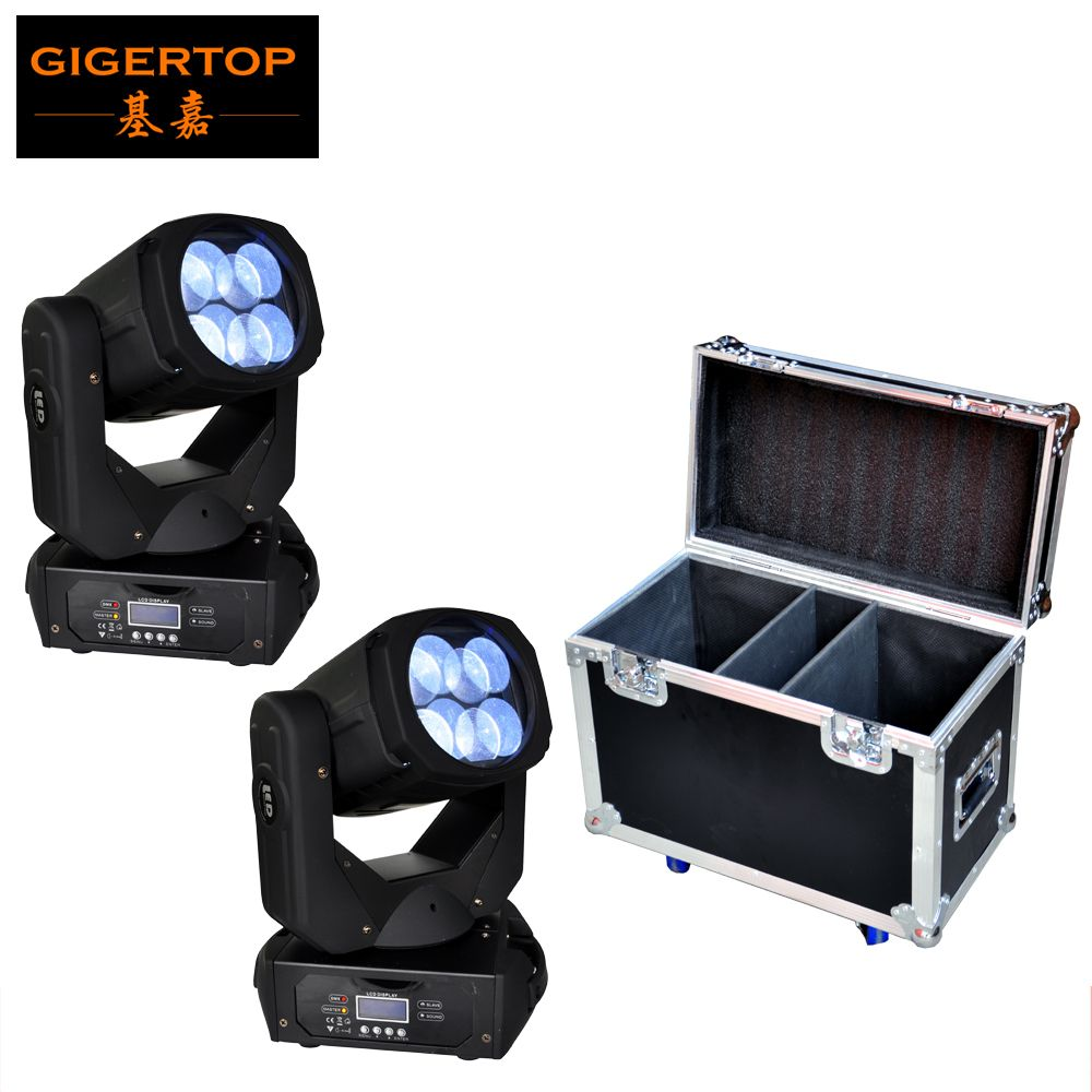 Freeshipping 4x25W Led Moving Head Super Beam Light White Tyanshine LCD Display Lockable Neutrik Power IN/OUT Flightcase Pack