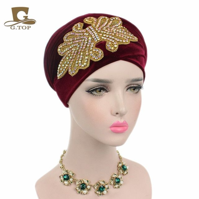 New Fashion Women Gorgeous Crystal Jewelry Long Velvet Turban Hijab Head Scarf Head Wrap Turbante