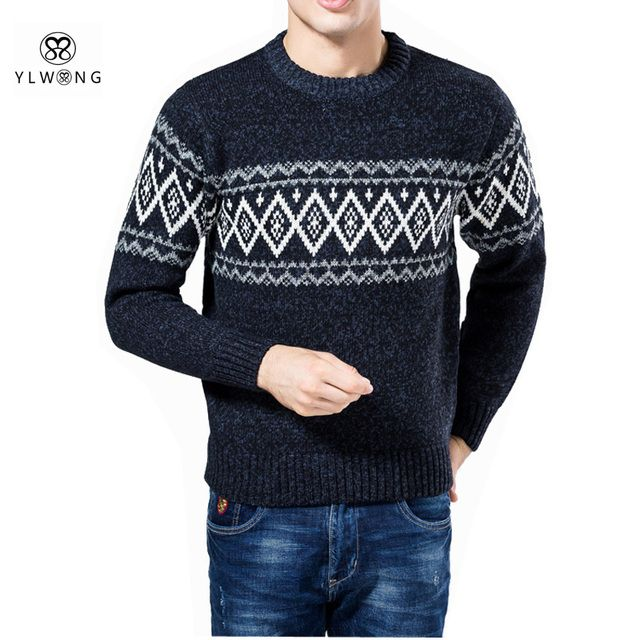YLWONG Brand Mens Clothing Geometric Knit White Orange Pullover Sweater Men Autumn Winter Autumn Sweaters For Boys 2017
