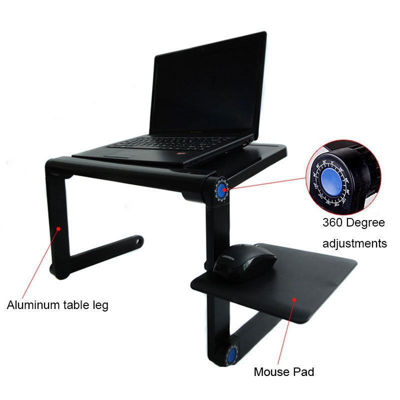 Portable Foldable Adjustable Laptop Plastic Desk Computer Table Stand Tray For Sofa Ergonomic Mobile Laptop Table & Cooling Fan