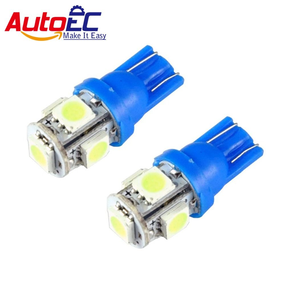AutoEC 10pcs T10 5 LED SMD 5050 158 168 194 w5w Car Reading Indication License plate Light Lamp Bulbs 12v ICE Blue #LB92