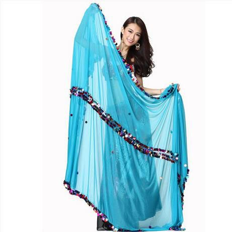 Belly dance accessories senior chiffon colors sequins 2.65*1.6m belly dance veils for women belly dance scarf