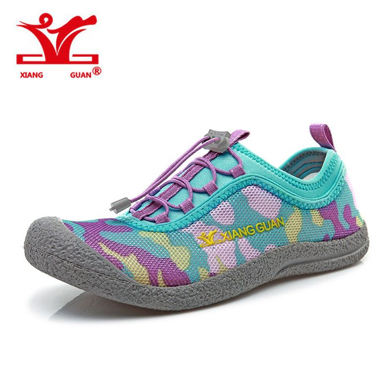Cheap Aqua Shoes Women Mesh Breathable Walking Outdoor Trainer Wading Sport Upstream Sneaker Female Beach Anti Skid XIANGGUAN
