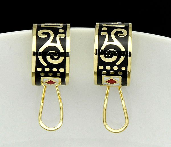 gold plated Vintage black enamel Earrings for Women party dance decorations