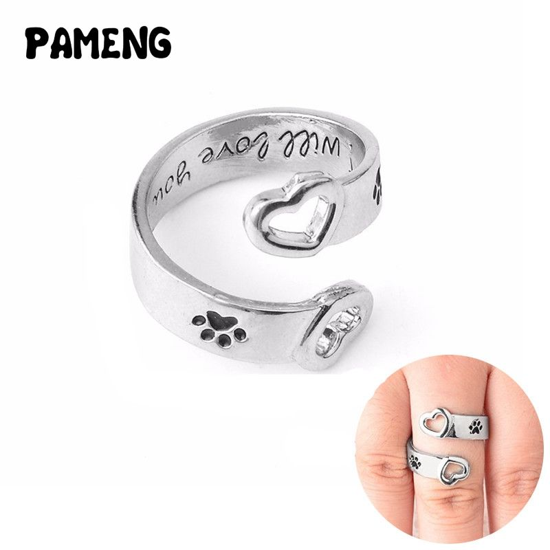 "Pameng Dog Paw Print Heart Wrap Around ""I will love you forever"" Hand Stamped Personalized Rings Love Pet Memorial Jewelry"