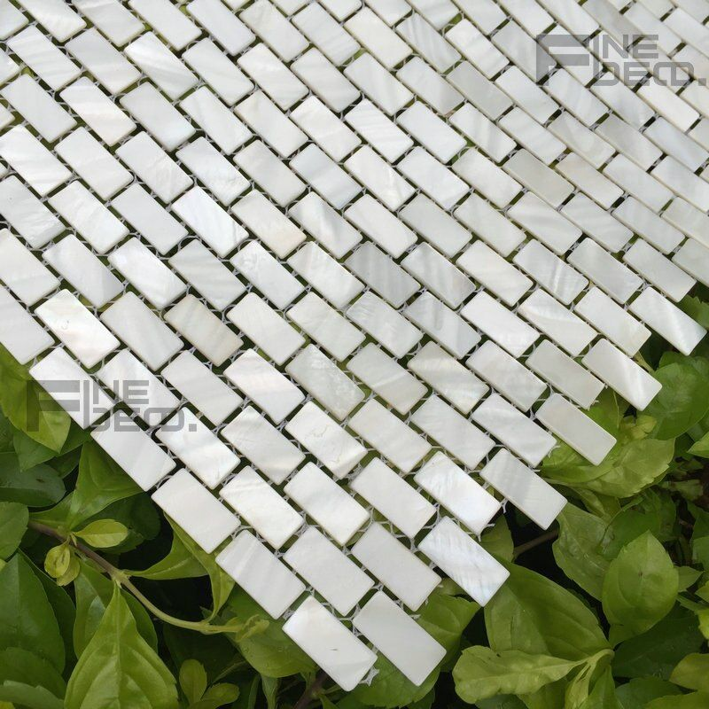 pure white color 100% natural freshwater shell mosaic tile subway pattern 10x20mm chip size for bathroom decoration