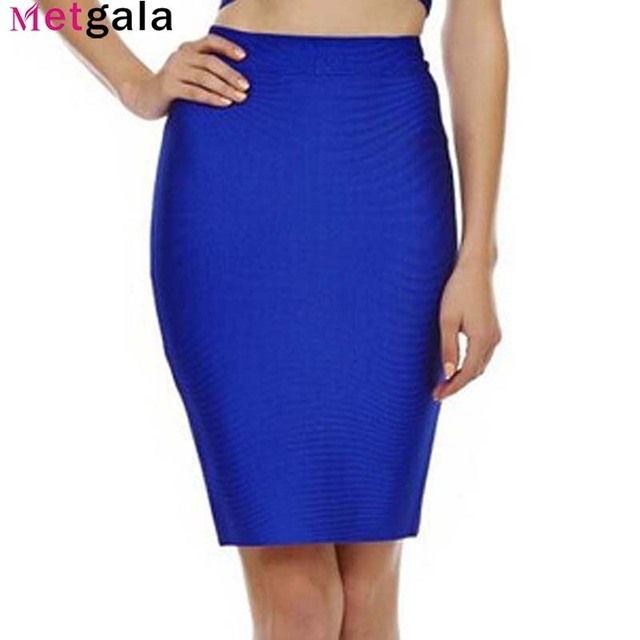 Metgala 2017 Good Elastic Women Celebrity Bandage Skirts Sexy Slim Solid Color Blue Black Red White Yellow Drop Shipping HLS113