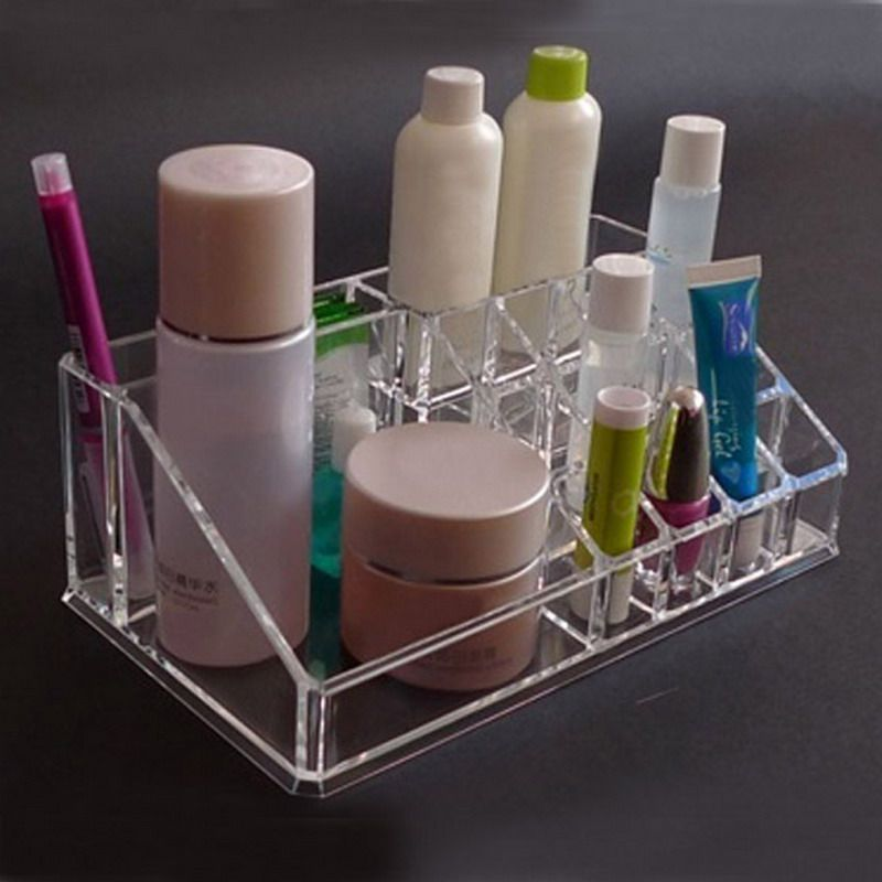 Lipstick Holder Display Stand Clear Crystal Cosmetic Organizer Makeup Jewelry Lipstick Brush Insert Holder Box