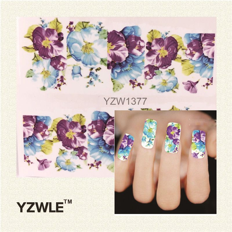 YZWLE 1 Sheet DIY Water Transfer Nail Decals, Purple Flower Designs Watermark Nail Art Stickers Tattoos Decorations Tools For