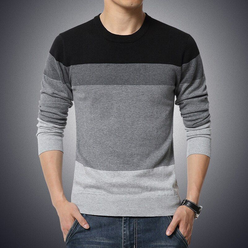 M-3XL Sweater Men 2019 New Arrival Casual Pullover Men Autumn Round Neck Patchwork Quality Knitted Brand Male Sweaters Plus Size