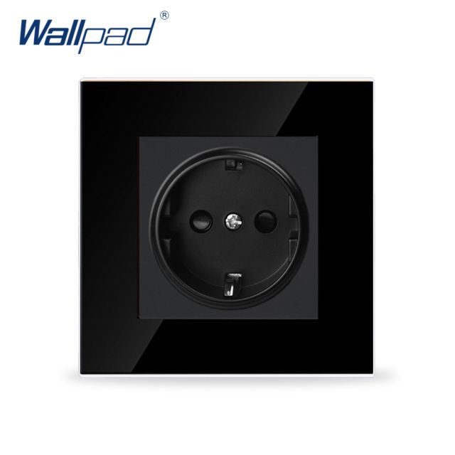 Wallpad Luxury 16A EU Socket Black Crystal Glass Electrical 16A European Wall Socket Outlet Tempered Glass EU Socket