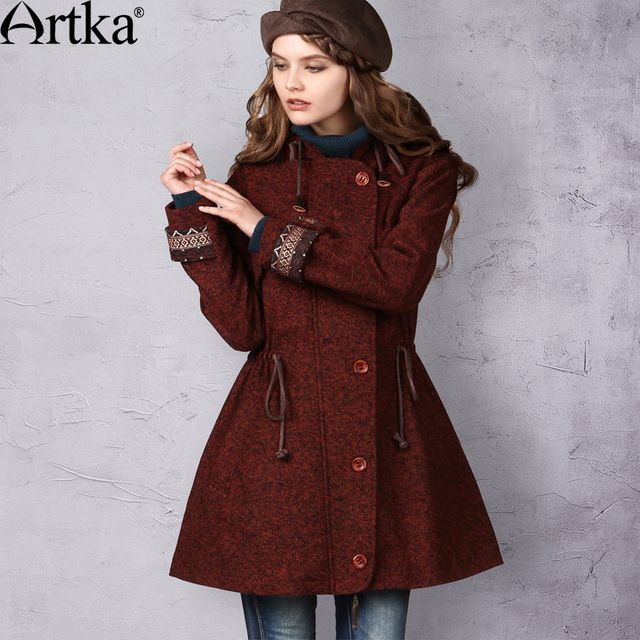 Artka Women's Autumn New Vintage Ethnic Embroidery Patchwork Drawstring Slim Woolen Hooded Coat FA10541Q