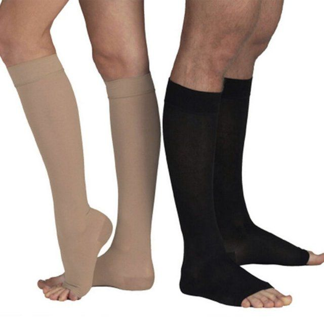 18-21mm Hg Stockings COMPRESSION KNEE HIGH Open Toe Men Women Support Stockings