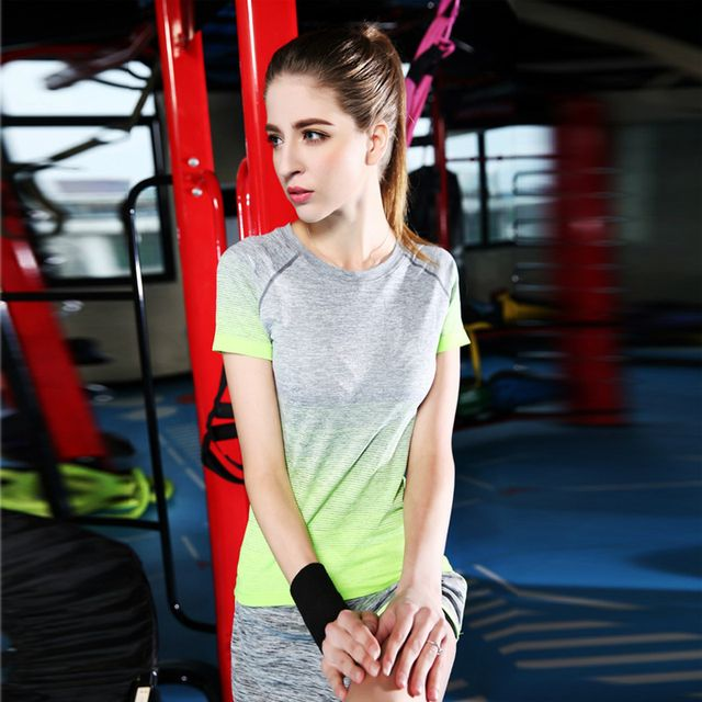 Summer  Striped Compression Shirts Women's  T-shirts Dry Quick  Short Sleeve T-shirts Fitnes Clothes Tees  Tops