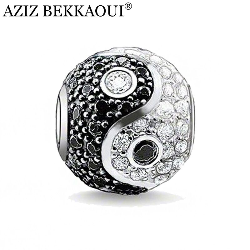 AZIZ Diy Chinese yin and yang beads big hole crystal beads rhinestone charms fit for diy bracelet necklace women jewelry