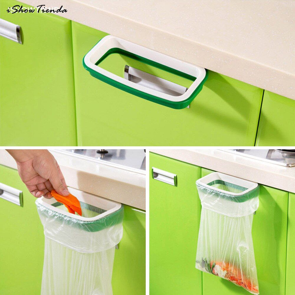 New Hot 12.5x 22cm Solid Hanging Kitchen Cabinet Cupboard Door Back Stand Trash Rack Style Storage Garbage Bags Trash Holder