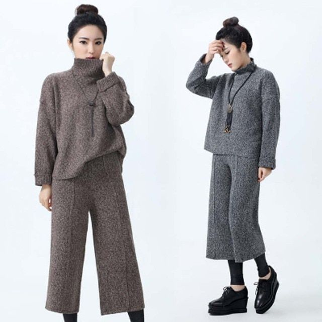 2016 model temperament women loose sweater suit chaps fashion turtleneck casual wide leg wool pants with tops knitted sweaters