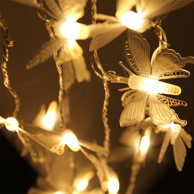 5M 40 Bulbs Christmas Lights Holiday Lighting LED String Lamp Fairy Butterfly Garlands Light LED Guirlande Lamps New Year Decor