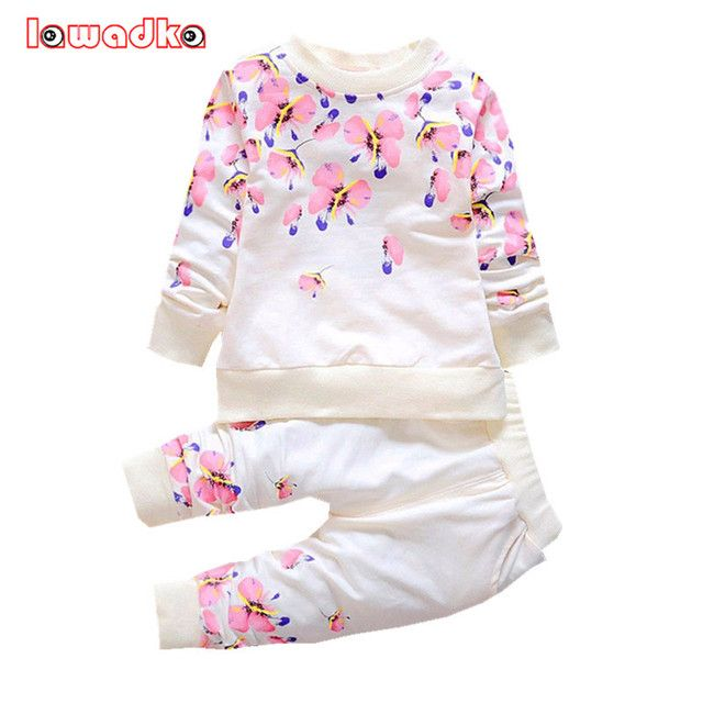 Spring Autumn  Kids Clothes Floral Pattern Long Sleeve Girls Kid Sets Princess Style Fashion Baby Set