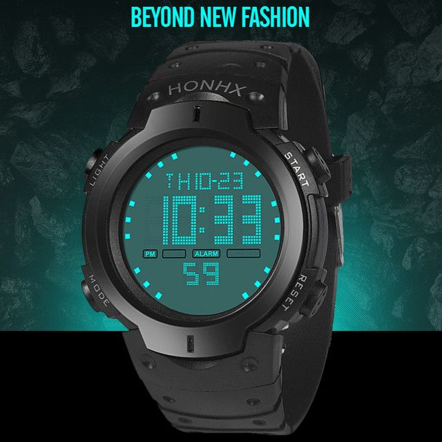 Fashion Waterproof Men's Boy LCD Digital Stopwatch Date Rubber Sport Wrist Watch For Men relogio masculino