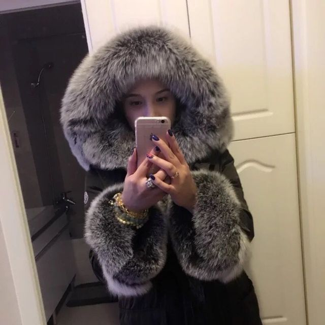 High cold winter outwear new natural fox real fox fur parka big size big fur collar warm thick long duck down coat MZ1110