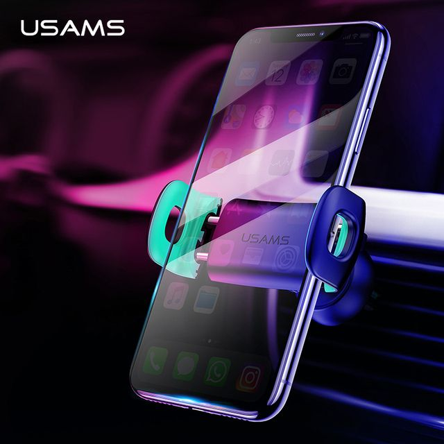 USAMS Car Phone Holder for iPhoneX 8 7 6 Adjustable Air Vent Mount Car Holder 360 Degree Rotation Support Mobile Car Phone Stand