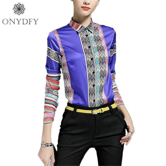 Runway Luxury Print Blouse Vintage Long Sleeve Shirt Women Tops And Blouses Camisas Feminina 2017 Ladies Office Shirts