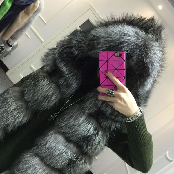 2015 winter coat Faux silver fox fur coat hooded vest stripe medium-long vest large size women