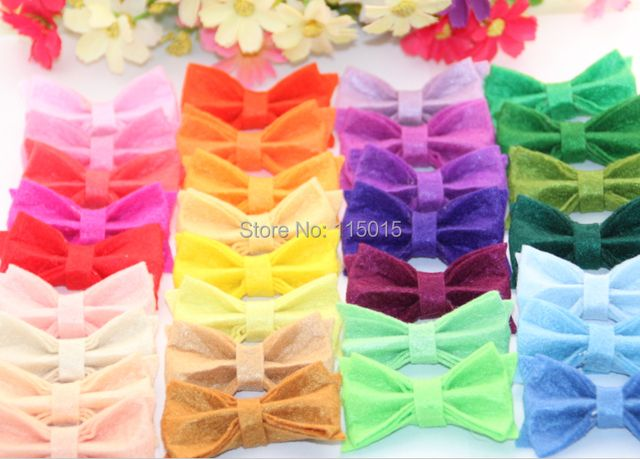 60pcs/lot New Arrival Tiny Felt Bows With Clips Hair Accessories Clothing & Hair Accessories Hair Clips Free Shipping