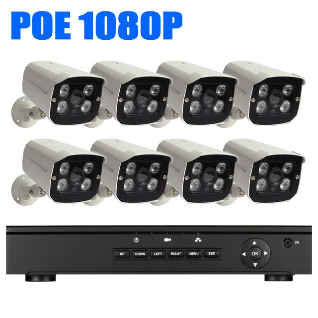 8CH 1080P CCTV POE kit 1920x1080P Security Bullet System 2.0Megapixel Outdoor Day Night Vision Power Over Ethernet