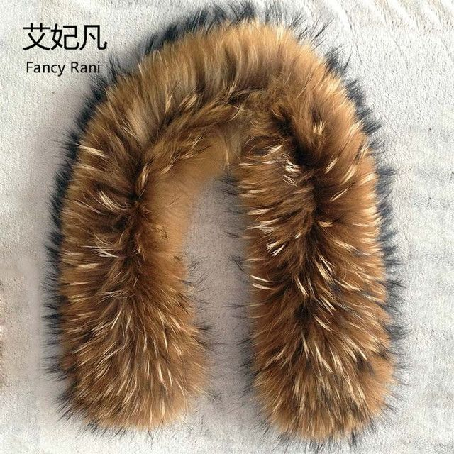 Real Raccoon Fur Collar 80cm Ring Scarf for Women 100% Natural Genuine Raccoon Fur Collar for Down Jacket Clothing Accessories