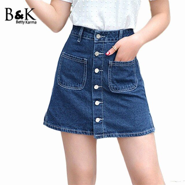 2017 Summer Skirts Women Elegant Vintage Jeans Skirts Girls Students England Style Button Mini A-Line Denim Short Skirt Female