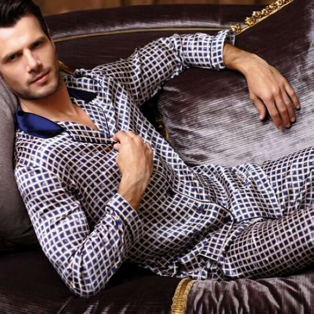 Luxury Mens Silk Satin Pajamas Pajama Pyjamas PJS Sleepwear Set  U.S.S,M,L,XL Long Sleeves Blue