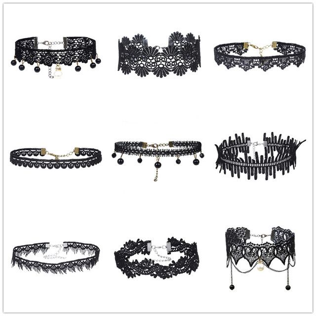 9 Pcs/Set Women Jewelry Choker Black Lace Choker Necklace Set Wide Velvet Collar Necklaces Heart Charms Hollow Jeans Flower ZH72
