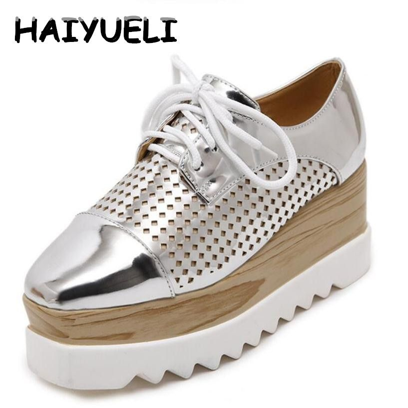 HAIYUELI Women Platform Shoes Oxfords Brogue PU Leather Flats Lace Up Shoes Creepers Vintage Hollow Light Soles Casual Shoes