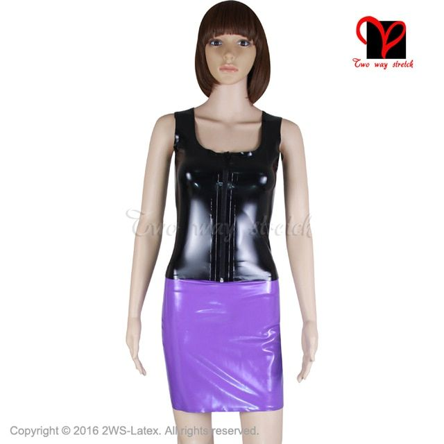 Sexy Pink Black Latex separate suit Gummi Two Piece set Vest Tank top Rubber skirt Dress shirt Playsuit catsuit plus size XXXL