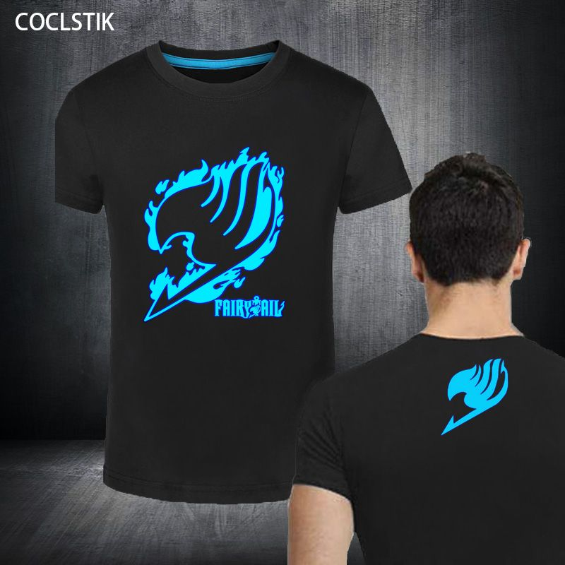 100% Cotton Childrens/Men's Summer Fluorescent Anime Fairy Tail T Shirt Streetwear Male Luminous In Dark Fitness T-shirts S-5XL