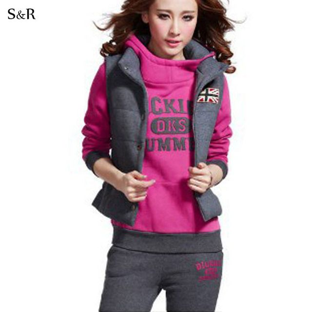 Winter Warm Suit Women Sportswear Costume Letter & Hoodie vest Pants & Casual 3 Piece Set Woman Fleece Thick Clothing Set