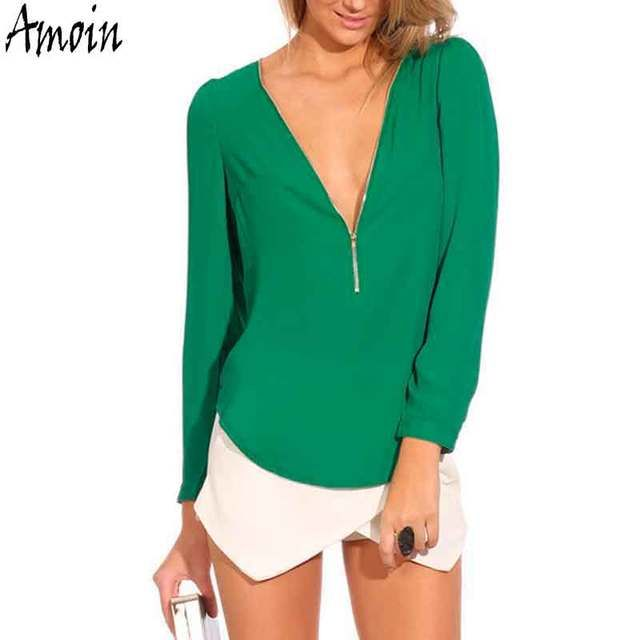 Amoin New 2017 Women Autumn Fashion V Neck Long Sleeve Casual Zipper Sexy Chiffon Blouse Shirt Work Wear Blusas Femininas Tops